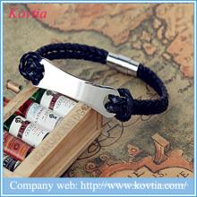 Pulseira de couro de moda pulseira de punk rock pulseira de aço inoxidável