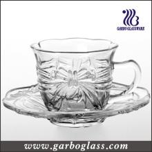 Ensemble de théière en verre et de soucoupe avec motif en relief (TZ-GB09D2706HDY)