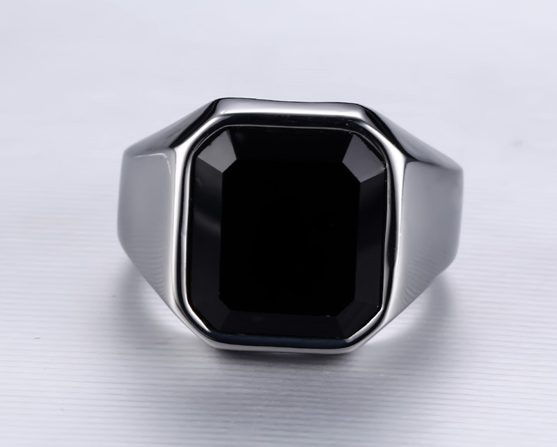 Men Black Onyx Ring
