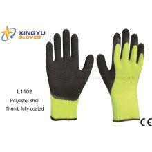 10g de alto grado de poliéster Shell Latex recubierto arrugas guante de trabajo de seguridad con recubrimiento de pulgar (L1102)
