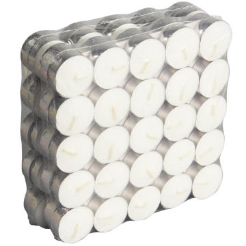 As velas brancas da luz do chá unscented de 100pack queimam-se 3.5hour