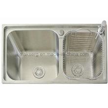 Fregadero de cocina de doble lavabo hecho a mano de acero inoxidable