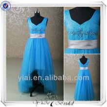 RSE155 Blue Tulle Silver Gürtel Wide Shoulders Kinder Abendkleider