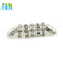 Wholesale All Size Plated Silver Rhinestone Round Rondelle Flat Spacer Beads Wholesale for Jewellery DIY Making