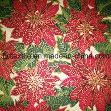 Xmas tecido de algodão com tinta dourada