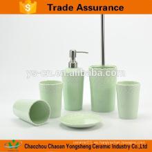 Nuevo conjunto de baño ecológico de porcelana con relieve verde
