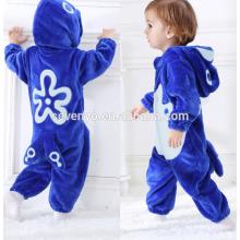 Soft baby Flannel Romper Animal Onesie Pajamas Outfits Suit,sleeping wear,cute blue cloth,baby hooded towel