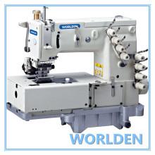 Máquina de costura dupla cadeia WD - 1508P cama lisa com mecanismo de movimento Horizontal Looper