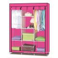 Single Canvas effect Wardrobe Clothes Storage Cabinet