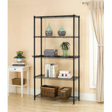 Hot Sale 5 Tiers Black Metal Wire Book Display Rack for Home/Office