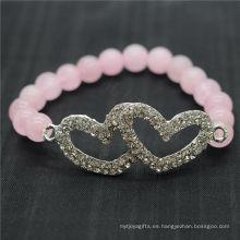 Rose Cuarzo 8MM Ronda Beads Estiramiento de piedras preciosas pulsera con diamante de aleación Double Heart Piece