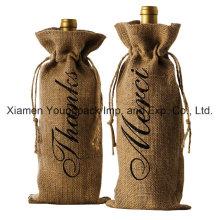 Promotional Reusable Jute Burlap Wine Tote Bottle Gift Bags
