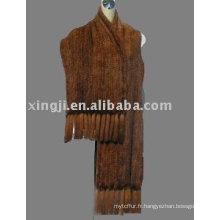 Tricot châle en fourrure de vison