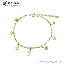 73901 moda elegante 14k tobillera de joyería de imitación de oro con diseño de cruz del corazón