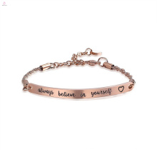 Barre gravée en acier inoxydable or rose toujours croire en soi Bracelet