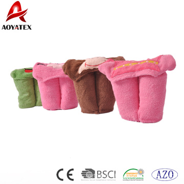 100% cotton embroidered animal head newborn baby hooded blanket