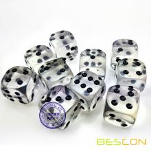 Wholesale Crystal Clear Tranrsparent Plastic Dice 19MM
