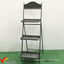 Retro Industrial 3 Tier Decorative Metal Foldable Shelf