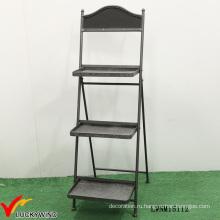 Ретро-индустриальная 3-х уровневая декоративная металлическая складная полка