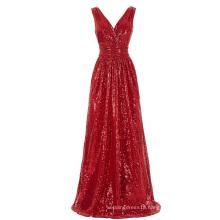 Kate Kasin Sleeveless V-Neck Red Shining Sequined Long Prom Dress KK000199-5