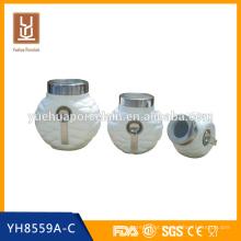 Cerâmica de grãos de café hermético chá vasilha conjunto wholesales com colher