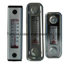 Indicador de calibre de nível de óleo de alumínio de vidro com termómetro