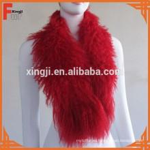 bufanda de cordero tibetana mongol teñida de color rojo