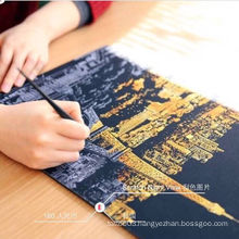2015 new design fashion high light scratch night view painting free pen