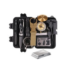 Outdoor Emergency SOS Survive Tool Survival Gear Kits 13 in 1 with Wire Saw Emergency Blanket Flashlight Tactical Pen