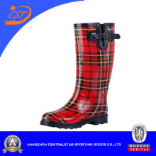 2016 Red Stripe Rain Boots with Buckle for Men and Women Zhejiang (SSD-LB11)