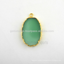 Natural Green Onyx Slice Bezel Gemstone Charm, Micron Gold Plated Sterling Silver Gemstone Bezel Charm Manufacturer