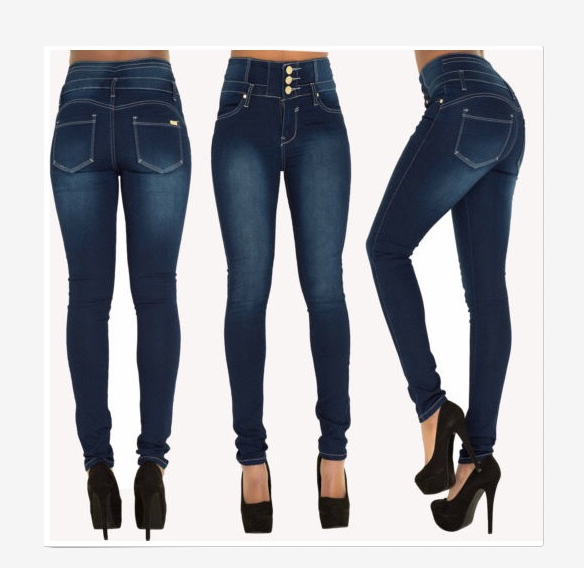Womens Sexy High-waisted Skinny Elastic Slim Fit Denim Jeans