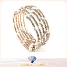 Nueva perla blanca con el oro de piedra de la CZ plateó las pulseras y el brazalete de plata de la manera de la joyería (G41254)