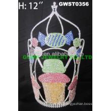 cupcake colored rhinestone tiaras