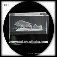 K9 3D subsuperficie láser Bull dentro del bloque de cristal