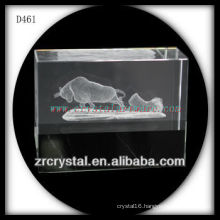 K9 3D Laser Subsurface Bull Inside Crystal Block