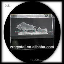 Touro subsuperficial do laser K9 3D dentro do bloco de cristal