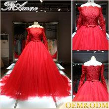 2016 China venta al por mayor trompeta trompeta grande Una línea de vestido de novia de noche Alibaba rojo piso de longitud nupcial vestido de novia