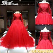 2016 China wholesale Big trumpet halter A line evening wedding dress Alibaba red floor-length bridal wedding dress