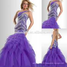 Mermaid One Shoulder Open Back Miss USA Beauty Pageant Dress Evening dress Prom dress with Heavy Beading Rhinestones TP11-02