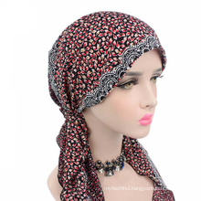 Hot selling lady printed muslim long tail cap fashion cotton turban hat for women