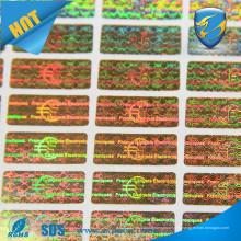 Holograma de la seguridad de encargo / etiqueta engomada del holograma del precio barato / etiqueta engomada del holograma etiqueta engomada
