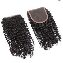 Extensão de cabelo de vison Brazilin, um fornecedor peruano Kinky Curly Encerramento