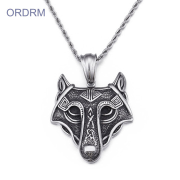 Stainless Steel Mens Viking Wolf Necklace