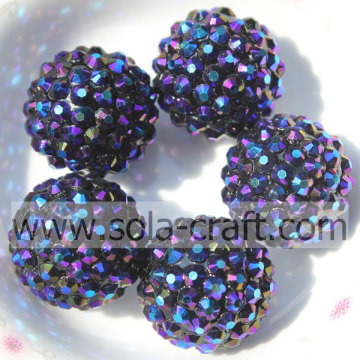 20*22MM Bluishviolet Big Sale Resin Rhinestones Ball Beads For Jewelry Accessory
