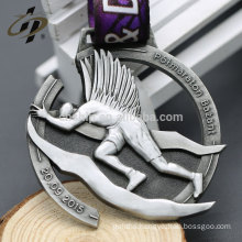 Gift items Custom souvenir antique silver metal medals with ribbon