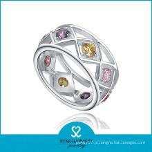 Colorido anel de banda de jóias de prata esterlina cz (sh-r0189)