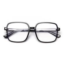 TR90 Retro Square Transparent Men And Women Flat Lens Glasses Korean Black Frame Spectacle Frame