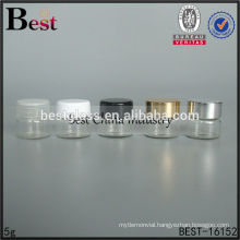 5g round cosmetic jars with gold cap, 5g glass jars and lids, cosmetic jars supplier