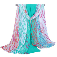 2017 fashion custom zebra leopard animal print stripes chiffon arab hijab muslim women scarf
